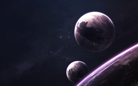 Unexplored cosmos. Science fiction wallpaper, planets, stars, galaxies and nebulas in awesome cosmic image. Stock Photo