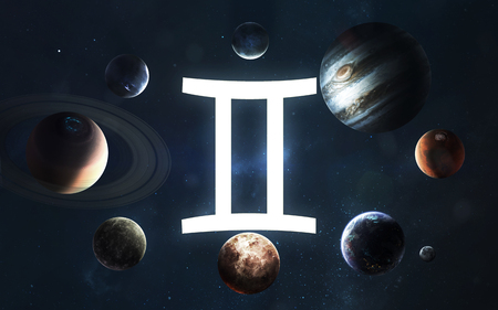 Zodiac sign - Gemini. Middle of the Solar system.
