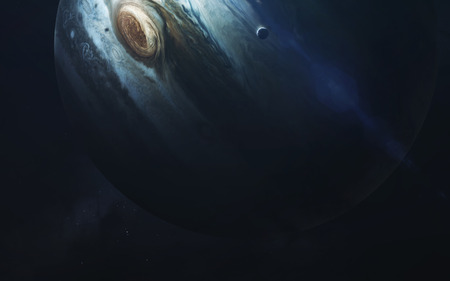 Cosmic landscape, beautiful science fiction wallpaper with endless deep space. Stock Photo