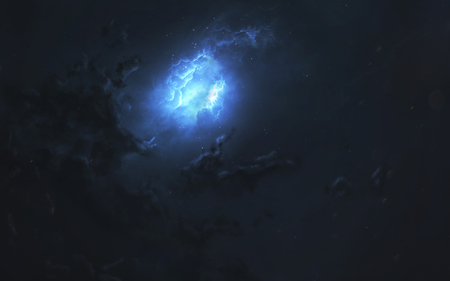 Nebula in deep space, awesome science fiction wallpaper, cosmic landscape.