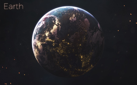 Earth. Realistic planets of Solar system.