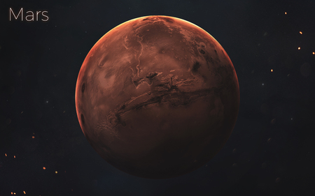 Mars. Realistic planets of Solar system.
