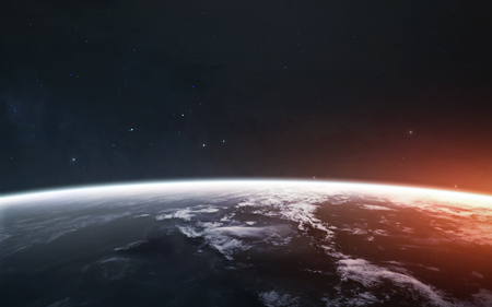 Awesome beautiful Earth planet in cold and warm light.