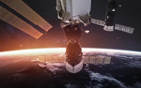 International space station orbiting beautiful Earth planet.