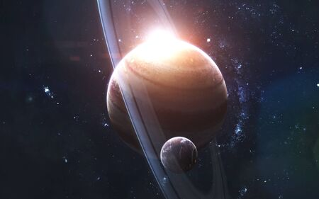 Gas giant with satellite, awesome science fiction wallpaper, cosmic landscape.