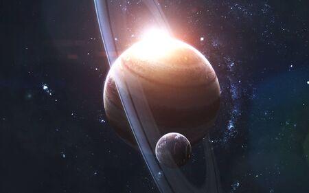 Gigante de gas con satélite, impresionante fondo de pantalla de ciencia ficción, paisaje cósmico.