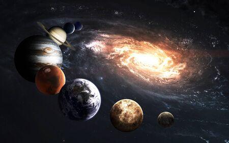 Planetas del sistema solar y Vía Láctea, impresionante fondo de pantalla de ciencia ficción.