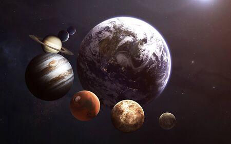 Planety Układu Słonecznego, niesamowita tapeta science fiction. Zdjęcie Seryjne