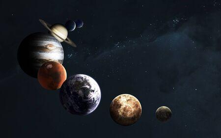 Planètes du système solaire contre Voie lactée. Art de science-fiction. Banque d'images