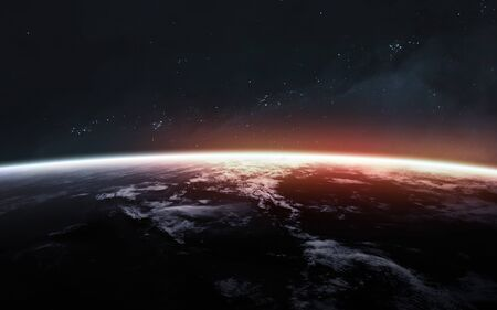 Earth planet. Science fiction art.