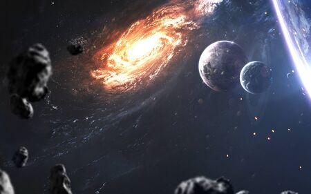 Hermosos planetas realistas contra la galaxia en el espacio profundo. Arte de ciencia ficcion