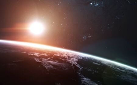 Sunrise over the Earth Planet. Science fiction art.