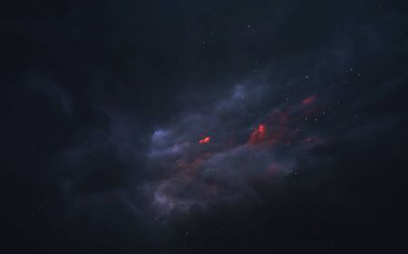 Red and blue starfield in space