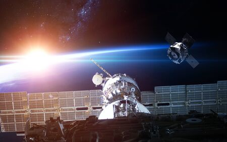 Space station view to Earth