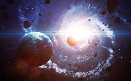 Star explosion in space Stock Photo