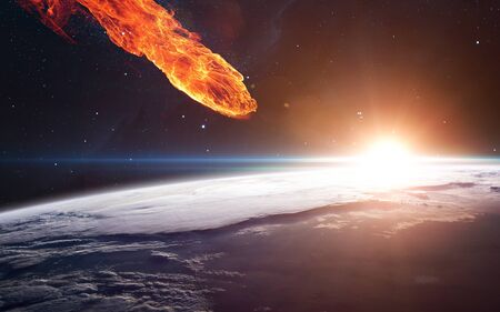 Météore s'approchant de la planète Terre