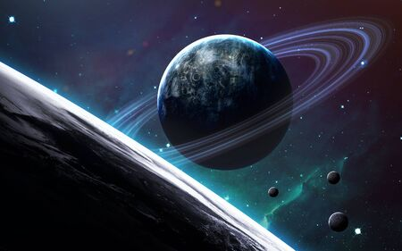 Blue planet with rings