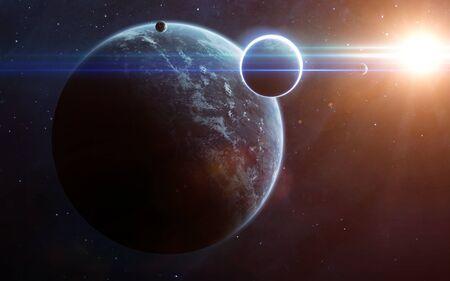 Scène d'univers avec des planètes, des étoiles
