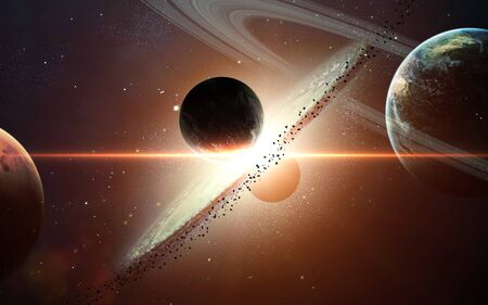 Planet explosion in space