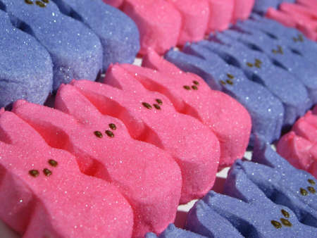 Blue and Pink Marshmellow bunnies lined up in rows from edge to edge