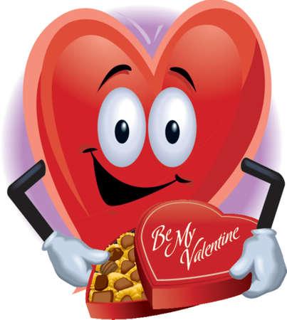 Valentine Heart mit einer Schachtel Pralinen