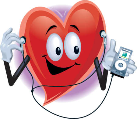 Heart Mann mit MP3-Player Illustration