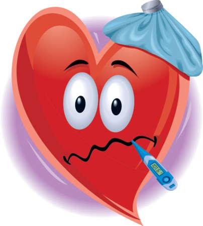 Sick Heart Man Stock Illustratie