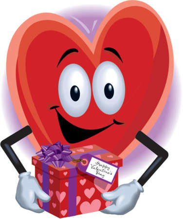 Heart Man with Gift Illustration