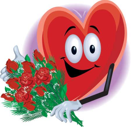 Heart Man Holding Roses Illustration