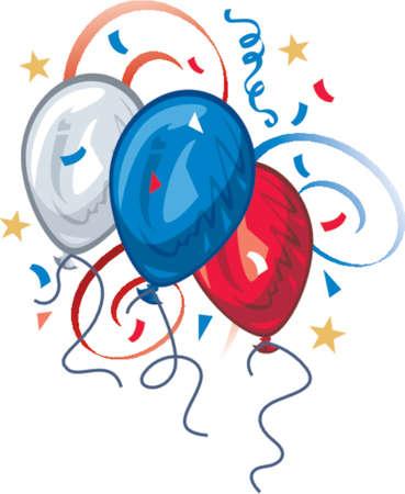 Rot, wei� und blau farbigen Luftballons mit Konfetti, B�nder und Sterne