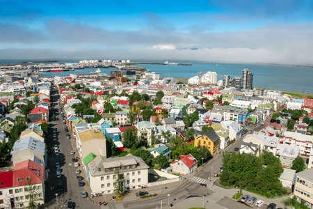 Bird s eye view of houses at Reykjavik photo