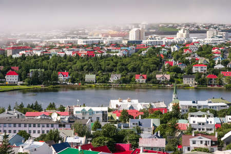 bird s eye view: Bird s eye view of houses at Reykjavik