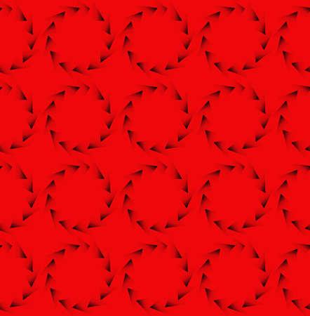 暗い赤色の三角形の円の背景パターン。