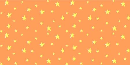 オレンジ色の空パターン上の光の黄色の星。  イラスト・ベクター素材