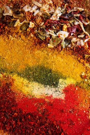 Colorful spice background for website headers or food labels. Seamless texture with spices and herbs.