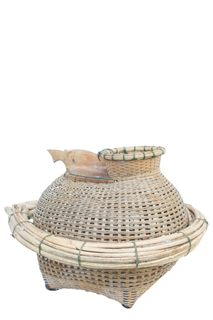 isolated Thai fish creel made by bamboo