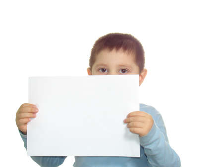 Kid and paper isolated over white Stock Photo