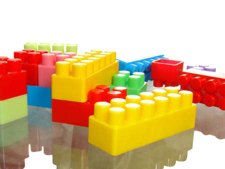 disordered: Disordered color bricks isolated over white