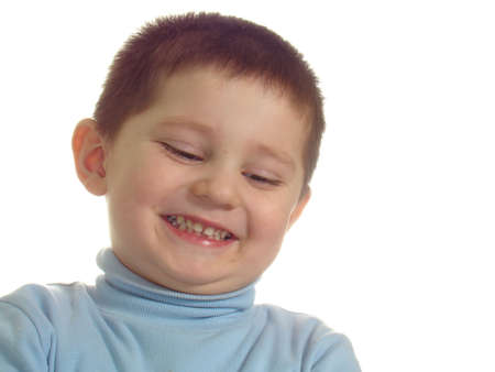 smiling boy looking down isolated over white Stock Photo - 2396307