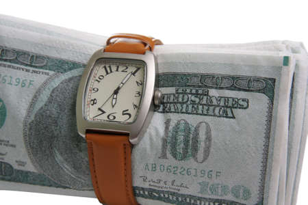Watches wristled over fake money isolated Stock Photo