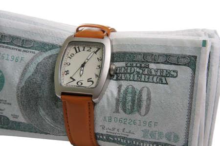 fake money: Watches wristled over fake money isolated Stock Photo
