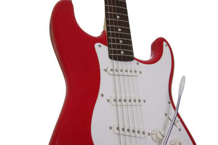 strat: red and white guitar part isolated over white