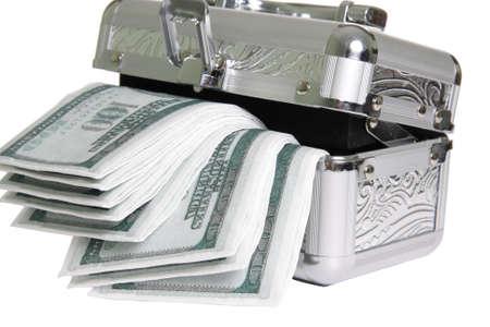 fake money: Metallic casket with fake money isolated over white