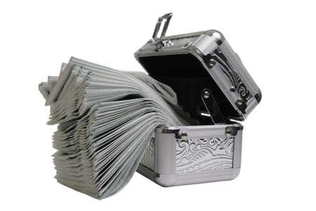 fake money: Metallic casket with fake money isolated