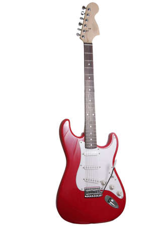 strat: Red electric guitar isolated over white