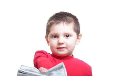 fake money: Little kid in red holding out fake money bunch isolated