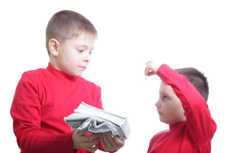 miserly: Kid showing coin to brother isolated Stock Photo