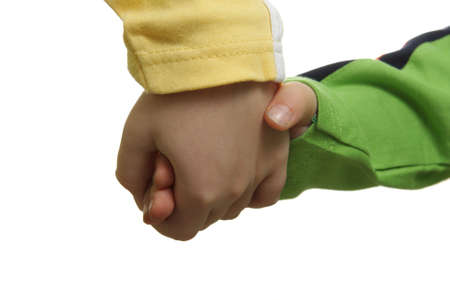 Children ahands isolated over white