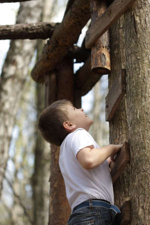 Boy in white shirt climbing on ladder in forest