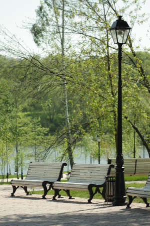 White benches and black street lamp with trees on background